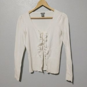 Ann Taylor Ruffle Front Cardigan Ivory